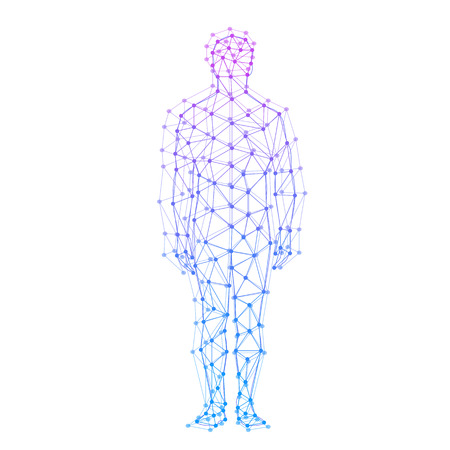 Abstract model of man with points and lines. Vector background Stok Fotoğraf - 37885387
