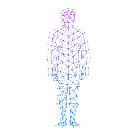 Modelo abstracto del hombre con puntos y líneas. Vector de fondo