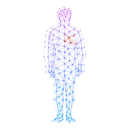 Modelo abstracto del hombre con puntos y l�neas. Vector de fondo