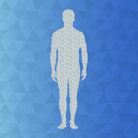 Poli arka plan üzerinde insanın soyut modeli. Vektör arka plan