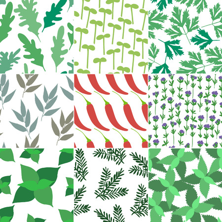 Set of 9 seamless hand drawn patterns Vector