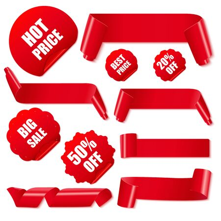 Set of realistic red paper ribbons and discount stickers. Vector