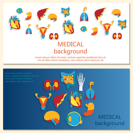 Concept of web banner. Medical background. Human anatomy. Vector