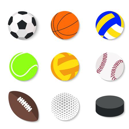 Conjunto de bolas de deporte planas de dise�o.
