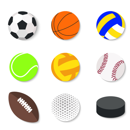 Set of flat design sport balls.