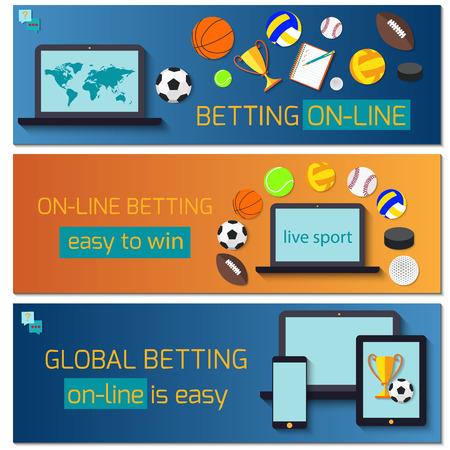 Concept for web banner sports betting statistics. Illusztráció