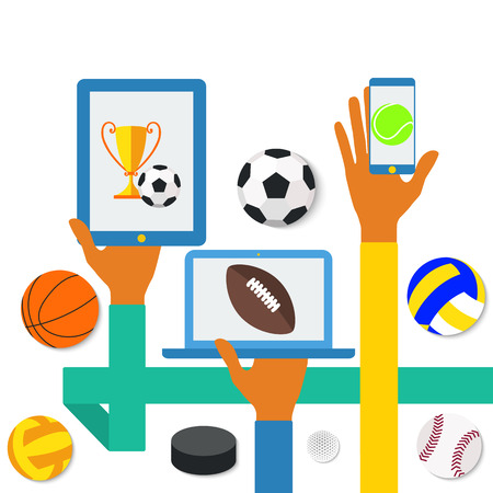 Icons of hands with phone and sports icons. Vector