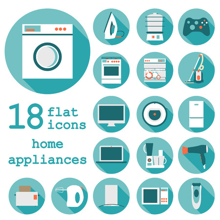 white goods: Set flat design icons of home appliances with long shadow.