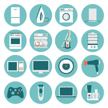 Set  modern flat design icons of home appliances. Illustration