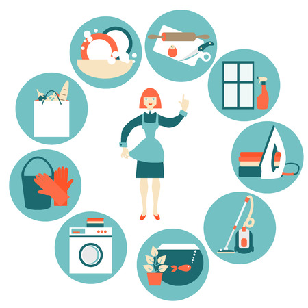 cleaning bathroom: House work concept vector illustration.