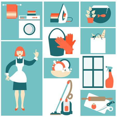 servicio domestico: Concepto de ilustraci�n vectorial de trabajo House.