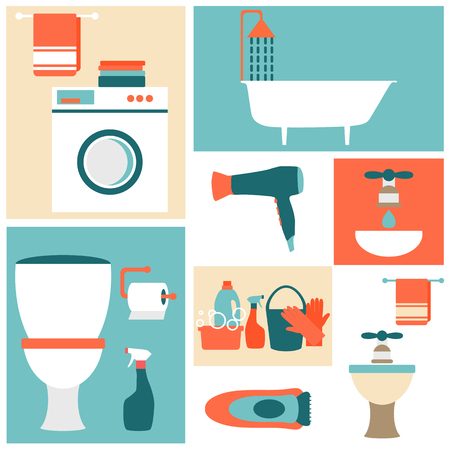 home keeping: Flat design icons on a theme of bathroom, toilet, cleaning.