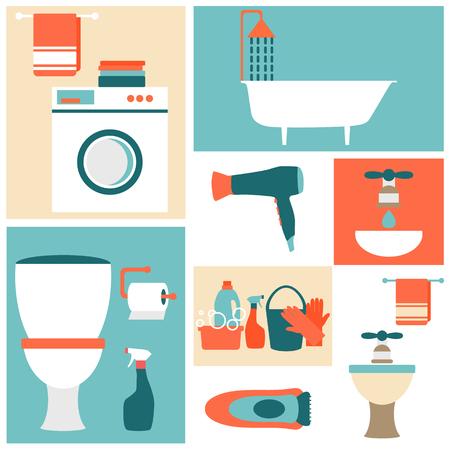Platte ontwerp pictogrammen op een thema van de badkamer, toilet, schoonmaken.