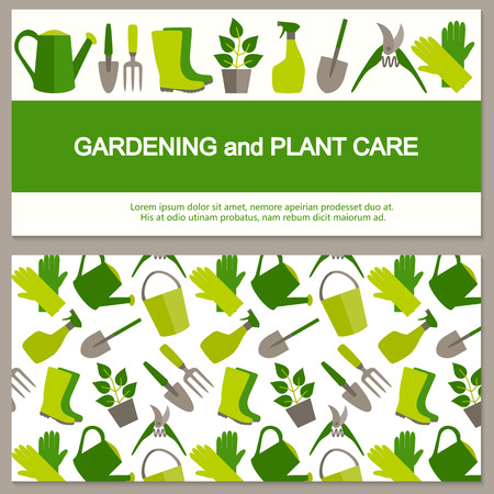 Flat design banner for gardening and horticulture. Vector