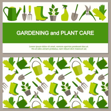 pot holder: Flat design banner for gardening and horticulture.