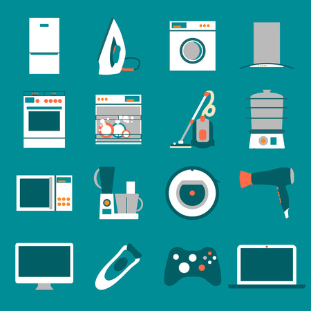 white goods: Set  modern flat design icons of home appliances. Illustration