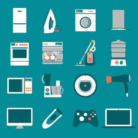 Ustaw nowoczesne płaskie ikony urządzeń gospodarstwa domowego.