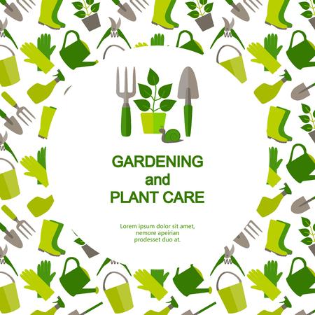 Bandera Dise�o plano para la jardiner�a y el cuidado de las plantas. Vectores