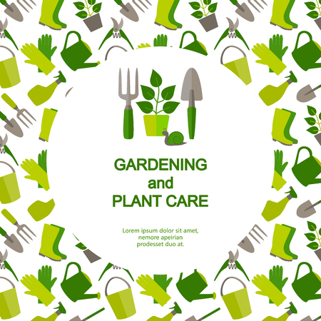 Flat design banner for gardening and plant care. Vector