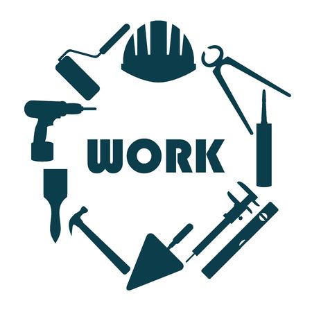 Platte design. Rond logo met huis reparatie iconen.