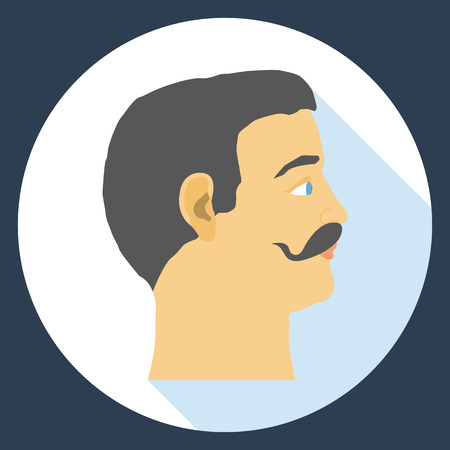 Flat design icon head of a man with a mustache.