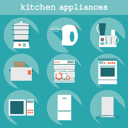 Big set  modern flat design icons of kitchen appliances with long shadow. Illustration