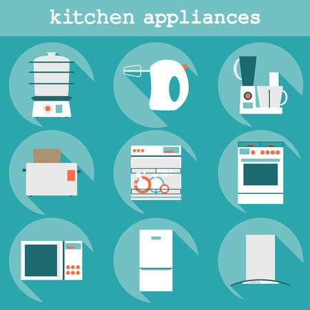 Grandes del conjunto modernos iconos del dise�o plano de los aparatos de cocina con larga sombra.