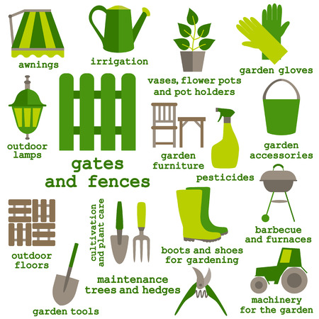 Flat design set of gardening tool icons isolated on white background. Vector