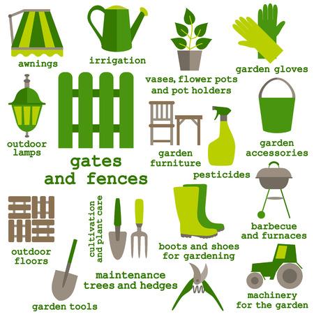 pot holder: Flat design set of gardening tool icons isolated on white background.