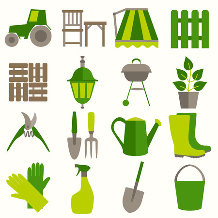 gardening tool: Flat design set of gardening tool icons isolated on white background.
