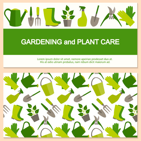 horticulture: Flat design banner for gardening and horticulture with garden tools and seamless pattern.