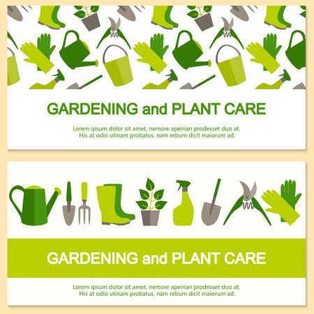 정원 도구 및 원활한 패턴 원예 및 원예 플랫 디자인 배너입니다.