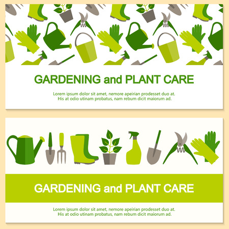 Flat design banner for gardening and horticulture with garden tools and seamless pattern.