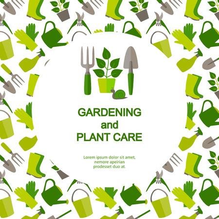 園芸および園芸のロゴ ガーデン ツールとのシームレスなパターンのバナーでフラットなデザイン。