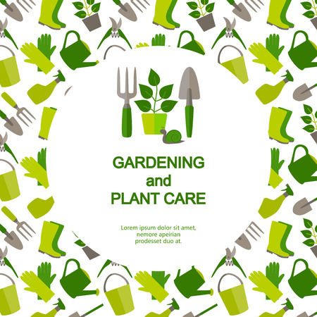 Flat design banner for gardening and horticulture with logo garden tools and seamless pattern. Ilustração