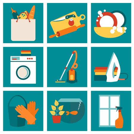 wash dishes: Concepto de ilustración vectorial de trabajo House. Limpieza concepto de diseño con iconos planos establecidos.