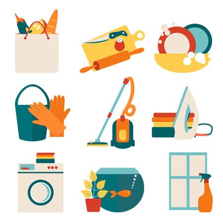 lavar platos: Concepto de ilustración vectorial de trabajo House. Limpieza concepto de diseño con iconos planos conjunto aislado sobre fondo blanco. Vectores