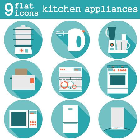 Big set  modern flat design icons of kitchen appliances with long shadow. Illusztráció