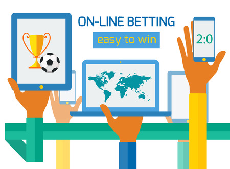 Concept for banner advertising online sports betting made in flat design. Icons of hands with phone and sports icons. Vector illustration. Vector