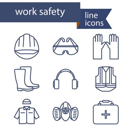 accidente trabajo: Conjunto de iconos de l�nea para el trabajo de seguridad. Ilustraci�n del vector. Vectores