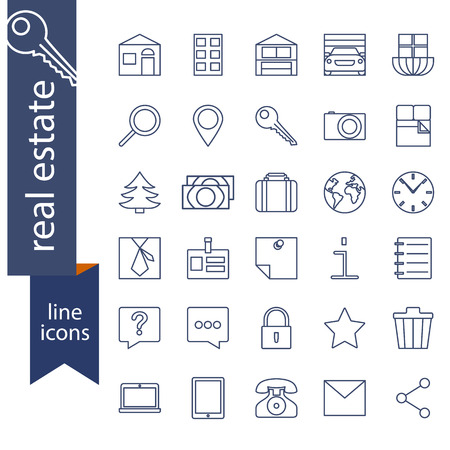 sale icons: Set of outline icons for real estate sale Illustration