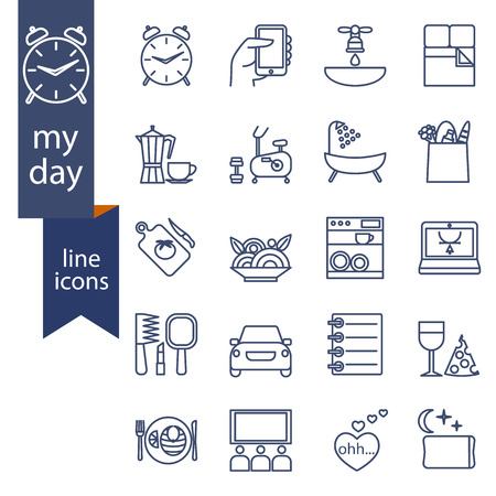 Set of outline icons for lifestyle.