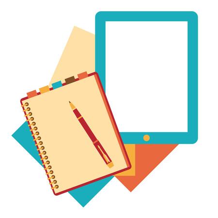open diary: Flat design notepad, paper sheet.