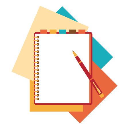 Libreta Diseño plano, hoja de papel. Vectores