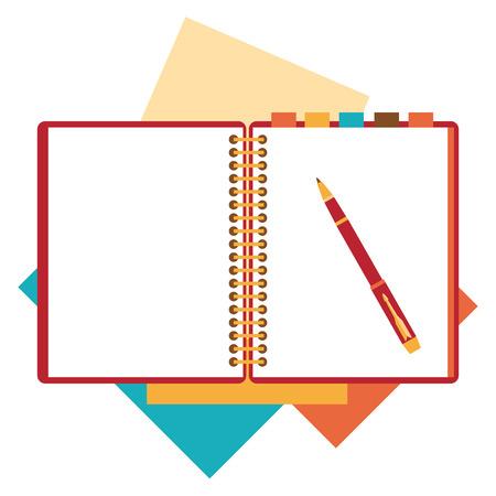 boligrafos: Libreta Diseño plano, hoja de papel. Vectores