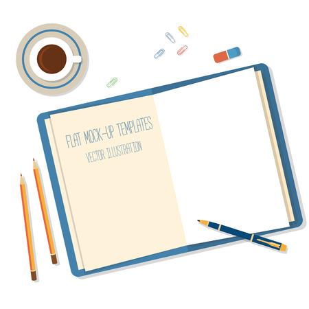 Abra un cuaderno, lápiz y lápices blancos en blanco sobre el escritorio Vectores
