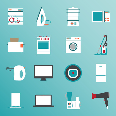 white goods: Set flat design icons of home appliances