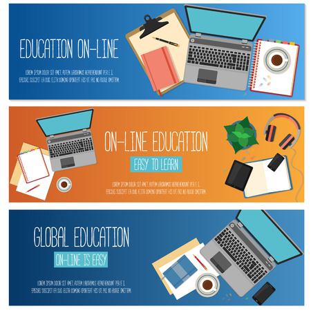 background banner: Flat design concept for online education. Concepts for web banners.