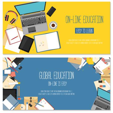 オンライン教育のためフラットなデザイン コンセプト。Web バナーの概念。
