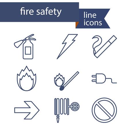 Conjunto de iconos de l�nea para la seguridad contra incendios. Ilustraci�n del vector. Vectores